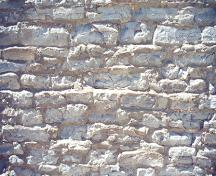 Detail views of the rubblestone masonry on the rear and sides of the building – June 2000; OHT, 2000