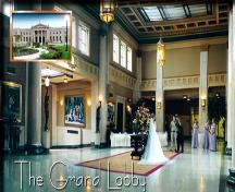 View of the restored grand lobby with picture of main building façade inset at top left – c. 2000; liunastation.com, 2001