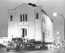 Moving the Masonic Hall from Lougheed Highway to 116th Avenue, 1980.; Maple Ridge Museum and Archives, P02063
