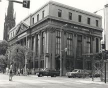 View of the northeast corner as seen from the intersection of Main St. and James St.; OHT, 1981