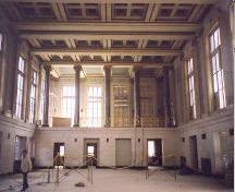Interior view of the banking hall showing floor, walls, columns, and ceiling; OHT, 2003