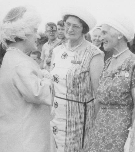 The Queen Mother greets Mona during her 1967 tour