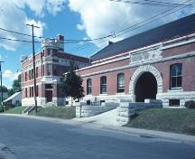 Main entrance to Peterborough Drill Hall / Armoury National Historic Site of Canada, 1980.; Parks Canada Agency / Agence Parcs Canada, 1980.