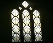 Example of the fine non-figural stained glass windows, typical of the Art Deco style.; City of Windsor, Nancy Morand, 2001
