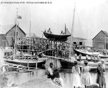 Historic image of the boat building site; Provincial Archives of New Brunswick