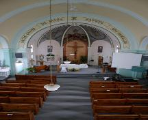 Interior view of the nave of the Sacred Heart of Jesus Roman Catholic Church, Fannystelle, 2005; Historic Resources Branch, Manitoba Culture, Heritage, Tourism and Sport, 2005