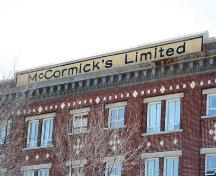 Wall detail of the McCormicks Limited Building, Winnipeg, 2005; Historic Resources Branch, Manitoba Culture, Heritage and Tourism, 2005