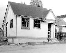 Exterior view after relocation and before restoration, 1980.; Maple Ridge Museum and Archives, P03101