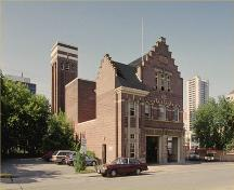Corner view of the Balmoral Fire Hall, 1992.; Parks Canada Agency/Agence Parcs Canada, 1992.