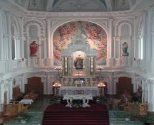 View of altar installed in 1912, Paroisse Saint-Pierre, Chéticamp, NS, 2002.; Inverness County Heritage Advisory Committe, 2002