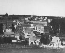 View of town c. 1900 with brick church in distance; Garden of the Gulf Museum Collection