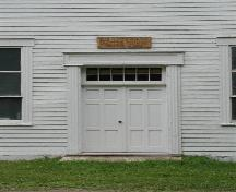 Front door, Big Intervale United Church, Kingross, Nova Scotia, 2002.; Inverness County Heritage Advisory Committe, 2002.