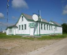 Primary elevations, from the southeast, of the Eriksdale Creamery, Eriksdale, 2005; Historic Resources Branch, Manitoba Culture, Heritage and Tourism, 2005
