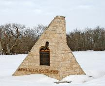 Primary elevations, from the southeast, of the Johann Magnus Bjarnason Monument, Arborg area, 2006; Historic Resources Branch, Manitoba Culture, Heritage and Tourism, 2006