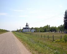 Contextual view, from the north, of the Ruthenian Greek Catholic Church of the Blessed Virgin Mary, Toutes Aides area, 2006; Historic Resources Branch, Manitoba Culture, Heritage and Tourism, 2006