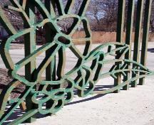 Detail of metalwork of the Silver Heights Gates, Winnipeg, 2006; Historic Resources Branch, Manitoba Culture, Heritage and Tourism, 2006