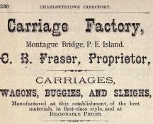 Ad for Fraser's Carriage Factory; Teare's Directory of PEI, 1880-81
