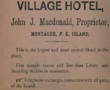 Advertisement for the Village Hotel; Frederick's Directory of PEI, 1889-1890