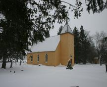 Primary elevations, from the northwest, of St. Anne's Anglican Church, Poplar Point area, 2006; Historic Resources Branch, Manitoba Culture, Heritage and Tourism, 2006