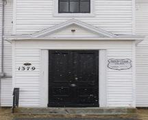 Detail of front entrance of the Rockville United Baptist Church, Rockville, Yarmouth County, NS, 2008; Heritage Division, NS Dept. of Tourism, Culture and Heritage, 2008