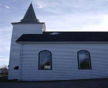 Detail of side elevation and tower, United Baptist Church, Woods Harbour, NS, 2008.; Department of Tourism, Culture and Heritage,Province of Nova Scotia 2008