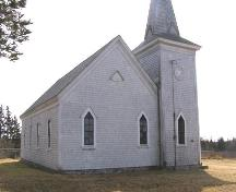North and east sides of the Brenton Methodist Church, Brenton, Yarmouth County, NS, 2008.; Heritage Division, NS Dept. of Tourism, Culture and Heritage, 2008