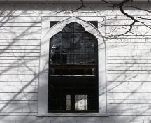 Detail of one of the windows on the south side of the Lake George United Baptist Church, Lake George, Yarmouth County, NS, 2008.; Heritage Division, NS Dept. of Tourism, Culture and Heritage, 2008