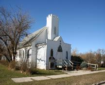 Primary elevations, from the southeast, of Grace Evangelical Lutheran Church, Langruth, 2006; Historic Resources Branch, Manitoba Culture, Heritage and Tourism, 2006