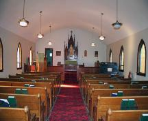 Interior view of Grace Evangelical Lutheran Church, Langruth, 2006; Historic Resources Branch, Manitoba Culture, Heritage and Tourism, 2006