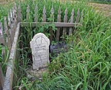 Detail view, from the south, of Betsey Ramsay's Grave, Riverton area, 2006, showing the gravemarker for Betsey Ramsay on the left and for John Ramsay on the right; Historic Resources Branch, Manitoba Culture, Heritage and Tourism, 2006