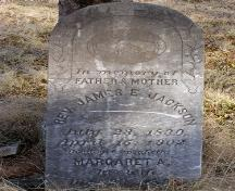 Headstone for Rev. James E. Jackson, an early minister in the community, leaning against a tree in the African Bethel Cemetery, Greenville, Yarmouth, NS, 2008.; Heritage Division, NS Dept. of Tourism, Culture and Heritage, 2008