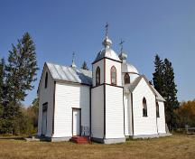 Primary elevations, from the southwest, of the Assumption of the Blessed Virgin Mary Ukrainian Catholic Church, Oakburn area, 2006; Historic Resources Branch, Manitoba Culture, Heritage and Tourism, 2006