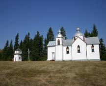 Contextual view, from the south, of the Assumption of the Blessed Virgin Mary Ukrainian Catholic Church, Oakburn area, 2006; Historic Resources Branch, Manitoba Culture, Heritage and Tourism, 2006