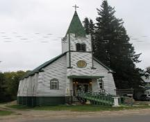 View of exterior of Assumption of the Blessed Virgin Mary Church, 2007.; Government of Saskatchewan, Thome, 2007.