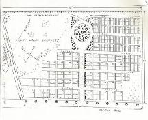 The plan of the Tusket Lakes Cemetery, Gavelton, NS, as designed by George S. Brown and drawn by P. Lent Hatfield in 1866.; Courtesy of the Trustees of Tusket Lakes Cemetery