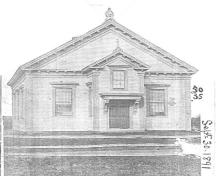 An 1891 image of the Central Chebogue United Baptist Church, Chebogue, NS, 2008.; Courtesy of Yarmouth County Museum and Archives