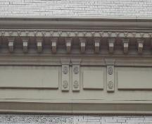 This image provides a view of the elaborate stone cornice, 2005. ; City of Saint John