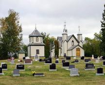 Contextual view, from the west, of St. Michael's Ukrainian Catholic Church, Olha, 2006; Historic Resources Branch, Manitoba Culture, Heritage and Tourism, 2006