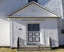 Detail of front entry porch of the South Canaan Free Baptist Church, South Canaan, Yarmouth County, NS, 2008.; Heritage Division, NS Dept. of Tourism, Culture and Heritage, 2008