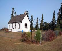 Primary elevations, from the southeast, of All Saints Anglican Church, Erinview area, 2006; Historic Resources Branch, Manitoba Culture, Heritage and Tourism, 2006