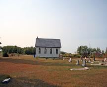 Contextual view, from the north, of All Saints Anglican Church, Erinview area, 2006; Historic Resources Branch, Manitoba Culture, Heritage and Tourism, 2006