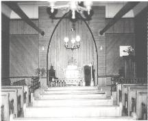 A view of the interior of the Raynardton Free Baptist Church, Municipality of the District of Yarmouth, NS, 1991.; Municipality of the District of Yarmouth, NS,1991.