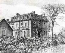 Historic sketch of George Brown's funeral procession, showing house; Copyright Expired