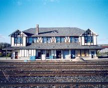 View of the track façade showing redesigned exterior of stucco and half-timbers – October 2003; OHT, 2003