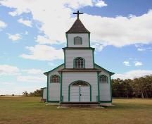 Primary elevation, from the north, of Sts. Cyril and Methodius Roman Catholic Church, Gimli area, 2006; Historic Resources Branch, Manitoba Culture, Heritage and Tourism, 2006