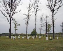 View from the southeast of the recently recovered 1902 section of the Overstoneville Independent Cemetery, Tolstoi area, 2006; Historic Resources Branch, Manitoba Culture, Heritage and Tourism, 2006