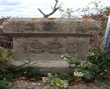 Detail view of a date post on the Concrete Box Bridge, Green Ridge area, 2006; Historic Resources Branch, Manitoba Culture, Heritage and Tourism, 2006
