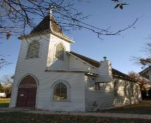 Primary elevations, from the southwest, of All Saints Anglican Church, Dominion City, 2006; Historic Resources Branch, Manitoba Culture, Heritage and Tourism, 2006