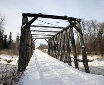 Contextual view, from the east, of the Gardenton Truss Bridge, Gardenton area, 2006; Historic Resources Branch, Manitoba Culture, Heritage and Tourism, 2006