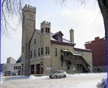 Contextual view, from the northwest, of St. Boniface Fire Hall No. 1, Winnipeg, 2007; Historic Resources Branch, Manitoba Culture, Heritage and Tourism, 2007